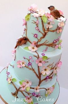 Vintage floral birthday cake by Izzy's Cakes . Aqua with dogwood tree branches, pink flowers and birds 19th Birthday Cakes, Birthday Cake For Mom, Themed Birthday Cakes, Pretty Cakes, Cute Cakes, Fondant, Mom Cake, Beautiful Cupcakes, Floral Cake