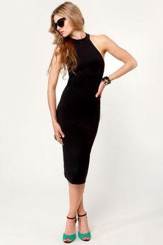 Sexy Black Dress - Midi Dress - Halter Dress - $41.00