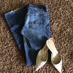 """Bootcut Denim 31"""" inseam. These are such a comfy boot cut fit! Some wear on the hem. 7 for all Mankind Jeans"""