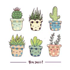 You succ! Cute succulents None by Origami StudioSet of 6 happy succulent stickers printed on waterproof sticker paper. All stickers are individually cut and sent in cellophane bag and padded envelope. Succulents Drawing, Cactus Drawing, Cactus Painting, Plant Drawing, Cactus Art, Succulents Painting, Cactus Doodle, Watercolor Cactus, Succulents Wallpaper