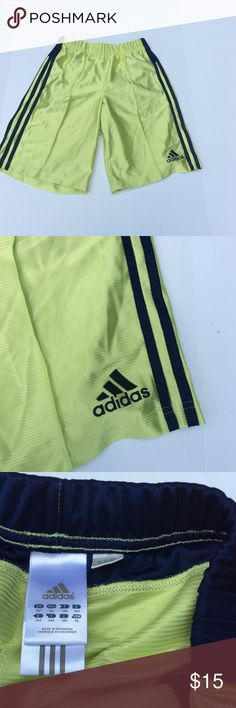 Adidas boys lime green  blue athletic shorts sz XL Adidas boys youth XL athletic shorts. Lime green with blue stripe down side. adidas Bottoms Shorts