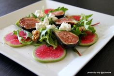 Watermelon radish with figs, goat cheese & arugula drizzle with lemon oil & a touch of balsamic