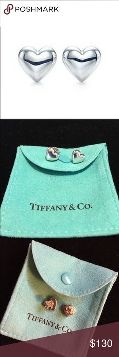 "Sterling Silver Puffy Heart Earrings Authentic Tiffany & Co sterling silver earrings. Approximately .5""x .5"". EUC. Dust bag included. Tiffany & Co. Jewelry Earrings"