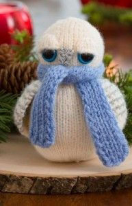 Free knitting pattern for Snowy Owl softie toy
