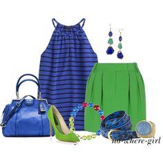 """Blue & Green"" by no-where-girl on Polyvore"