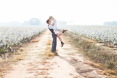Goregous engagement pose in a field of cotton | Claire Diana Photography |