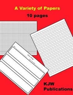 24 pages - Black lines for lined handwriting paper, story paper, comic strip paper, graph paper, music paper, grid paper, name tags, math answer pa...