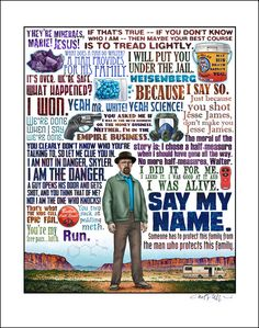 Breaking Bad tribute. Signed 11 x 14 print from an illustration by Chet Phillips.    This tribute showcases famous quotes and icons from the dramatic