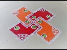 Beautiful and simple half circle rangoli design - YouTube