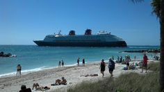 The Disney cruise ship heads out of Key West near the Fort Zack beach.