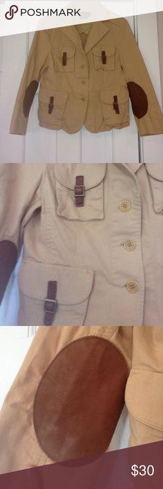 BCBGMaxazira military style blazer w/ elbow accent Sz medium 3/4 sleeve .three button closure. Hits just below my belly button Jackets & Coats Blazers