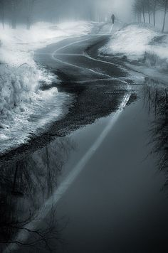 gyclli: fog… Spring Walk *** By Mikko Lagerstedt The Road Not Taken, Long Way Home, Vanishing Point, Light And Shadow, Pathways, Portrait, Mists, Scenery, Country Roads