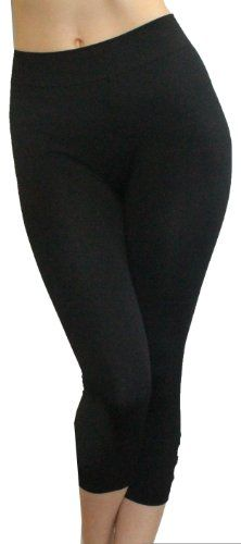 Just One Women`s Plus Size Black Seamless Capri Legging with Grommet Cuff
