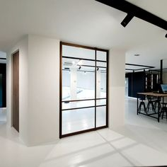 Glass pivot door, Glass pivot door with built-in self-closing pivot hinge that doesn't require any built-in parts prior to installation. Find local resellers on www. Wooden Sliding Doors, Sliding Pocket Doors, Pivot Doors, Internal Doors, Loft Design, House Design, Kitchen Glass Doors, Traditional Doors, Aluminium Doors