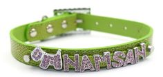 Namsan Dog Puppy Cat cat Leather Collars Bling Rhinestone Personalized Customized Free Name Diamond Bucklet (Extra Small,Small,Medium,Large) and Green -- Check out this great image  : Cat Collar, Harness and Leash