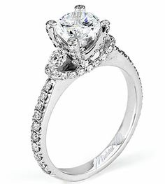 From Michael M. Collection Handcrafted U-set diamond shank and prongs with round brilliant side stone ring set in 18k white gold