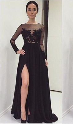 08cd47f7b Sexy Lace Appliques Black 2018 Prom Dress Front Split Long Sleeve Illusion  Sweep Train