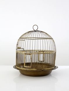circa This is an antique Hendryx brass bird cage. The decorative cage features a round brass base with a domed cage top with slender bars. The single hinged door has Hendryx branding. Door Accessories, Decorative Accessories, Antique Bird Cages, The Caged Bird Sings, Pet Cage, Bird Feathers, Beautiful Birds, Bird Houses, Hanging Chair
