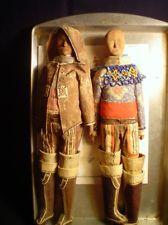 2 Rare Vintage Inuit Eskimo Dolls Greenland Canada Carved Wood antique roadshow