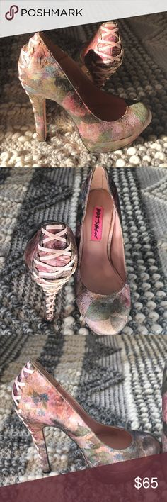Betsey Johnson limited edition floral corset pumps Worn once, great condition. Size 6.5 Betsey Johnson Shoes Heels