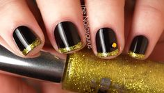 Gold & Black french tips (I'd skip the jewel)