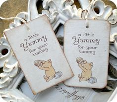 Classic Winnie the Pooh Yummy for your Tummy Tags- Set of 6 - Vintage Inspired / Cottage Chic - Favors, Baby Showers, Birthdays. $5.95, via Etsy.
