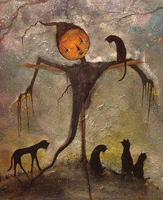 Original OOAK Painting Cat Scarecrow Gothic Halloween Prinitive Folk Art T Foss