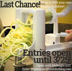 Win your very own Veggie Spiralizer! Super easy to enter - but HURRY! Contest is only open for ONE more day! Closes at midnight 3/25!   Get yours today and start making your own zucchini noodles - zoodles, curly fries, sliced cucumbers, sweet potato fries and MORE!  Enter at soulfreshtheblog,com