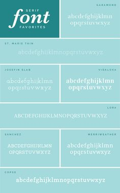 As a designer, I'm frequently asked which fonts I use and prefer. So  todayI'm rounding up some of my favorite serif, sans-serif, and fun fonts  along with links so that you can download and make use of them, too!  Serif font - a font that has asmall line attached to the end of a stroke  in a letter or symbol  Garamond  // St. Marie Thin  // Josefin Slab  // Vidaloka Lora  // Sanchez  // Merriweather  // Copse    Sans-serif font- a font that does not have the small…