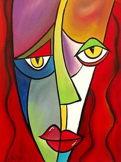 acrylic paintings of absract faces | Art: Faces 8 by Artist Thomas C. Fedro