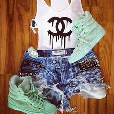 shorts shoes chanel fashion style sneakers shirt levi's tank top drip dripping dripping lettering tenues mint green shoes cute want love Uñas Fashion, Fashion Killa, Cute Fashion, Womens Fashion, Chanel Fashion, Fashion Shirts, Tumblr Outfits, Swag Outfits, Outfits For Teens