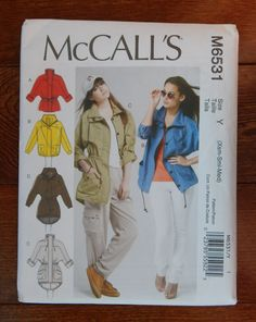 Jackets & Belt Sewing Pattern 4 Options/ McCall's 6531/ Misses Size XS- S- M (4- 14) Summer, Loose Fitting, Dolman Sleeve, Casual/ Uncut by RedWickerBasket on Etsy
