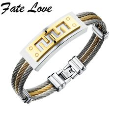 Fate Love 2017 New Fashion Jewelry Originality Stainless Steel Multi Layers Bracelet Bangle Men Silver Gold Color Bracelet FL784