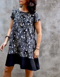 Tessuti Fabrics - NEW and UPDATED Gabby Dress Pattern featuring contrast hem panel #tessutifabrics #tessutipatterns #gabbydress