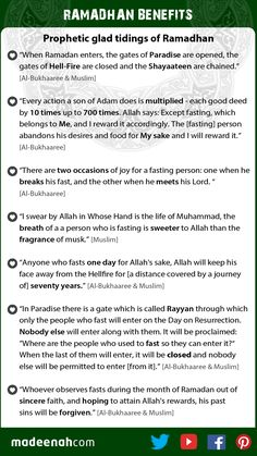 Authentic Ahaadeeth about the virtue and reward of fasting