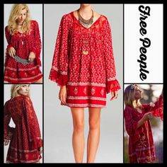 """❗️1-HOUR SALE❗️Free People Boho Mini Tunic Dress  NEW WITH TAGS  Retail: $128 Free People Boho Lace Dress                                                * Beautiful floral print w/semi sheer embellished floral crochet lace details; Lined * Long sleeves w/lace eyelet & tassel tie * Pullover style & oversized shift fit * About 34.5"""" long. Cocktail party ***Tagged XS, will fit XS-S Fabric:100% cotton, lining-rayon-cotton  Color: Red  Fuschia No Trades ✅Offers Considered*/Bundle Discounts✅…"""