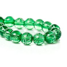 20 Green Glass Beads With White Splatter 10mm Gorgeous Bead 3805 by OverstockBeadSupply on Etsy