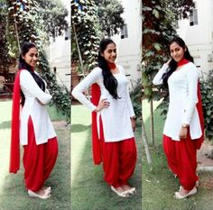 White and Red Punjabi Suit