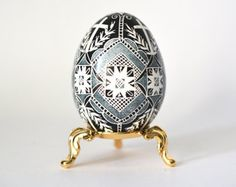 gray Pysanka, batik art, chicken egg shell, Ukrainian Easter egg, hand painted egg ornaments with crosses, Easter basket decoration and gift