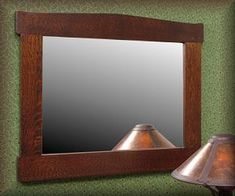 The Cooper mirror, is designed in the Stickley, Mission and Craftsman tradition. Craftsman Mirrors, Craftsman Frames, Craftsman Style, Mirror Art, Mirror Hanging, Mirror Ideas, Hanging Wire, Oak Park, Craftsman Style Homes