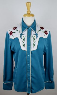 Scully Western Shirt Women's Sz. Medium Blue Bird Floral Embroidered Pearl Snap  #Scully #Western #Casual