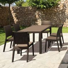 Check out the Compamia ISP8781S Orlando 7 Piece Wickerlook Rectangle Dining Set with Florida Side Chairs