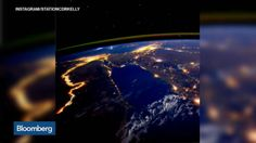 NASA astronaut Scott Kelly, recently passed the halfway mark of his one-year mission to the International Space Station, photographed the Nile River during a nighttime flyover, Sept. The photo was NASA& Image of the Day on Friday. Scott Kelly, Nasa Photos, Nasa Images, Cosmos, Northern Lights From Space, Le Nil, Earth Photos, Nile River, International Space Station