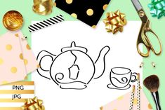 Tea Time Coloring (Graphic) by Revidevi · Creative Fabrica Coloring Books, Coloring Pages, Digital Stamps, Gift Cards, Making Ideas, Tea Time, Tea Pots, Craft Projects, How To Draw Hands