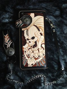 warrior skull biker men's long wallet handmade
