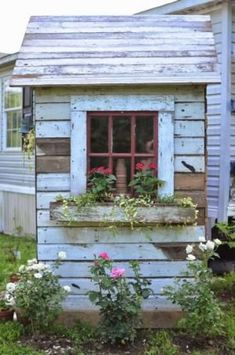 Trendy Garden Shed With Porch Planters Rustic Shed, Rustic Backyard, Greenhouse Shed, Garden Tool Shed, Cottage Garden Sheds, Le Hangar, Shed With Porch, Shed Decor, Custom Sheds