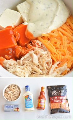 This recipe for crockpot buffalo chicken dip made with real chicken is SO GOOD. And it's so easy to make with only 5 simple ingredients and a slow cooker! Poulet Sauce Buffalo, Chicken Dips, Cheesy Chicken, Hot Buffalo Chicken Dip Recipe, Buffalo Chicken Dip Franks, Buffalo Chicken In Crockpot, Buffalo Chicken Dip Ingredients, Party Chicken, Crockpot Recipes