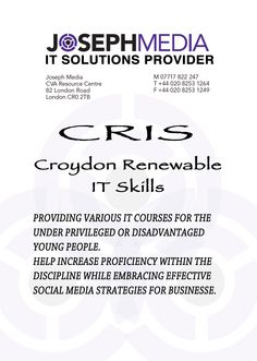 "CRIS,known as the ""Croydon Renewable IT Skills"",aimed at fulfilling young people's potential by giving IT courses to a certain category of age(people between 16 and 25 years-old).Good opportunity for those,who,look forward to improving their IT skills and building confidence with social media.. Croydon, Confidence Building, 25 Years Old, Young People, Opportunity, Community, Social Media, Age, Learning"