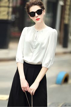 $70.99 White 3/4 Sleeves Blouse