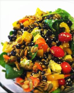 Vegan Gluten-Free Mick's Everyday Salad: How does this salad stack up to your usual lunchtime meal?Mick's Everyday Salad    Ingredients:  Spinach  Yellow Pepper  Carrot  Cucumber  Cherry Tomato  Pumpkin seed   Soaked black beans  Raw Hemp Heart  Avocado  Braggs Apple Cider Vinegar  Vega EFA Oil Blend  Garlic Powder, Salt, Pepper, Cayenne Pepper